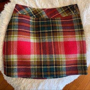 J. Crew Wool Plaid Mini Skirt Green Red Brown